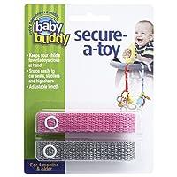 Baby Buddy ベビー バディ Secure-A-Toy 2ct おもちゃストラップ2色各1本組 【アメリカ製】 Pink&Grey ピンク&グレー