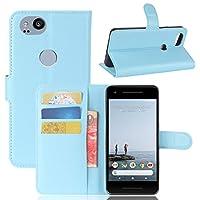 携帯電話ケース, Googleピクセル2電話ライチテクスチャ水平フリップ携帯電話レザーケースカバーシェル付きホルダー&カードスロット&財布 (Color : Blue)