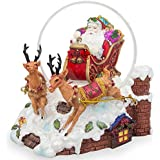 15cm Santa Sleigh and Reindeers Deliver Christmas Gifts Music Snow Globe