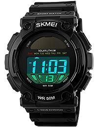 子供腕時計 学生腕時計 ソーラー エコドライブ デジタル LEDバックライト 50m防水 アラーム ストップウオッチ 曜日 日付機能 省エネ ブラック