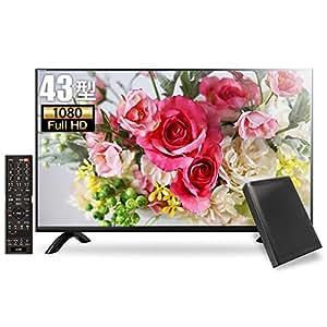 外付けHDDorポータブルHDD&同軸ケーブル同梱版》 MARSHAL 43型 フルハイビジョン液晶テレビ HDD録画対応 留守録機能 東芝基盤採用 ブラック MAL-FWTV43-SET