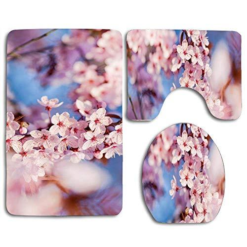日本の桜の季節の写真バスラグセットバスルーム、ソフトノンスリップ、吸収シャワーマット、U字型輪郭マットトイレカバー用3ピースセット 50x80cm