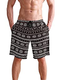 VAWA 水着 メンズ サーフパンツ おしゃれ ビーチパンツ 海水パンツ 短パン 吸汗速乾 大きいサイズ 水陸両用 縞柄 民族風 白と黒