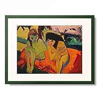 エルンスト・ルートヴィヒ・キルヒナー Ernst Ludwig Kirchner 「Two Girls/Naked Girls talking. 1909/20」 額装アート作品