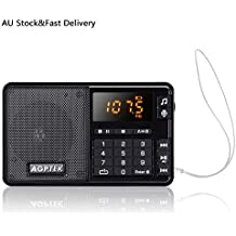 AGPTEK Portable FM Pocket Radio, Digital Radio with Line-in Voice Radio Recorder and Mp3 Player, Built-in Speaker and Better Reception, Supports Up to 32GB SD Card (Black)