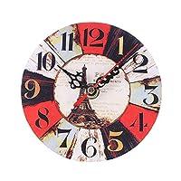 Clock Number ファミリー壁時計ウォールステッカーヴィンテージスタイルメナージュキッチンオフィス用の非刻々と過ぎミュートアンティークウッドウォールクロック Wall Clock Quartz Modern (Color : A)