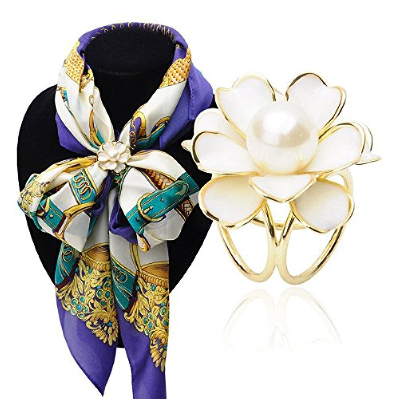 Hellery レディース 3リング 花 スカーフ バックル ブローチ リング クリップ 飾り アクセサリーン