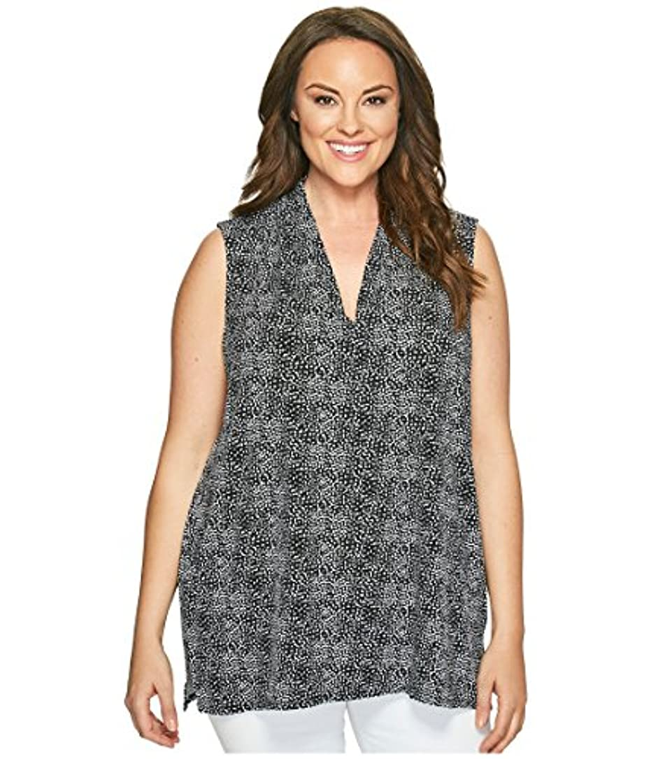 表現穀物長老[ヴィンスカムート ] Vince Camuto Specialty Size レディース Plus Size Sleeveless Delicate Pebbles V-Neck Top with Chiffon Seam...