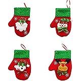 QIKI クリスマスデコレーション 4個 クリスマステーブルデコレーション クリスマスデコレーション クリスマスグローブ カトラリーバッグ カトラリーバッグ カトラリーホルダー キャップ カトラリーホルダー フォークスプーンバッグ クリスマス装飾