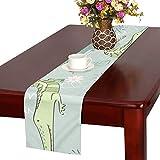 GGSXD テーブルランナー キャラクターカバ クロス 食卓カバー 麻綿製 欧米 おしゃれ 16 Inch X 72 Inch (40cm X 182cm) キッチン ダイニング ホーム デコレーション モダン リビング 洗える