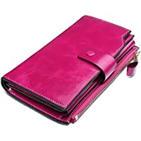 YALUXE Women's Large Leather Clutch Wallet Billfold Ladies Purse Card Holder Organizer