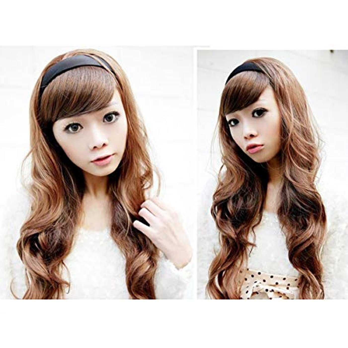 菊遺伝子騙すYZUEYT 女性の毛のウィッグは、黒いフープのヘッドブランドと長い波状 YZUEYT (Color : Color Dark Brown, Size : One size)
