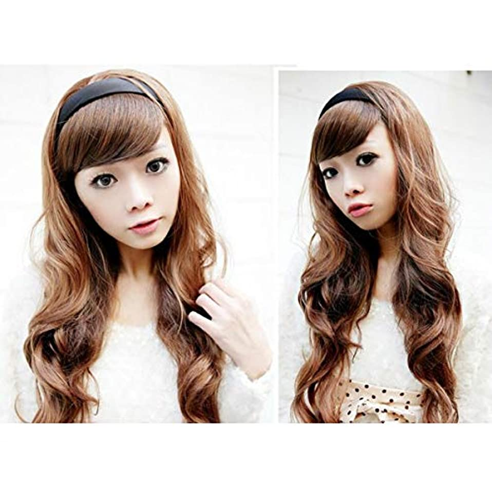 サルベージキャメル冒険者YZUEYT 女性の毛のウィッグは、黒いフープのヘッドブランドと長い波状 YZUEYT (Color : Color Dark Brown, Size : One size)