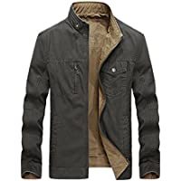 Risnow Mens 100% Cotton Reversible Jacket & Coats Stand Collar Windbreaker