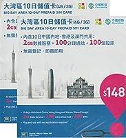 [中国移動香港]中国全土 香港 澳門 (マカオ) 3GB(FUP->128kbps) 4G/3G 10日間+1日 大湾区 データ通信SIMカード 100分通話+100通SMS付き[香港電話番号] (2枚)