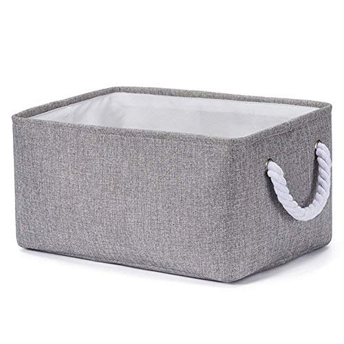 Storage Bin Basket for Organizing Baby Toys, Kids Toys, Baby Clothing, Gift Baskets - Foldable Canvas Fabric Storage Cube Bin (Gray)
