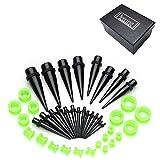 Piercingj アクリル 拡張器 エキスパンダー ボディピアス/ボディーピアス 20ペア 40個セット カラー:ブラック・グリーン  各サイズ (2mm~16mm)