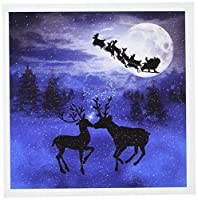 Doreen Erhardtクリスマスコレクション–ロマンチッククリスマストナカイKissing In The Snow With a Winter Moon Shining on the Forest–グリーティングカード Set of 12 Greeting Cards