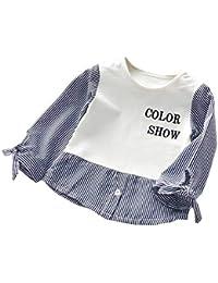 Ochine 重ね着 フェイクレイヤード 子供服 幼児 女の子 ワンピース 子供ワンピース 長袖 韓国風 シャツ