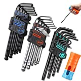 REXBETI Hex Key Allen Wrench Set, SAE Metric Star Long Arm Ball End Hex Key Set Tools, Industrial Grade Allen Wrench Set, S2 Steel