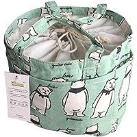 VANCORE ランチバッグ 弁当箱 保冷保温バッグ おしゃれ弁当袋 ランチ巾着 柔軟な麻綿生地 手洗い可 3ポケット付き(6色)ホッキョクグマ