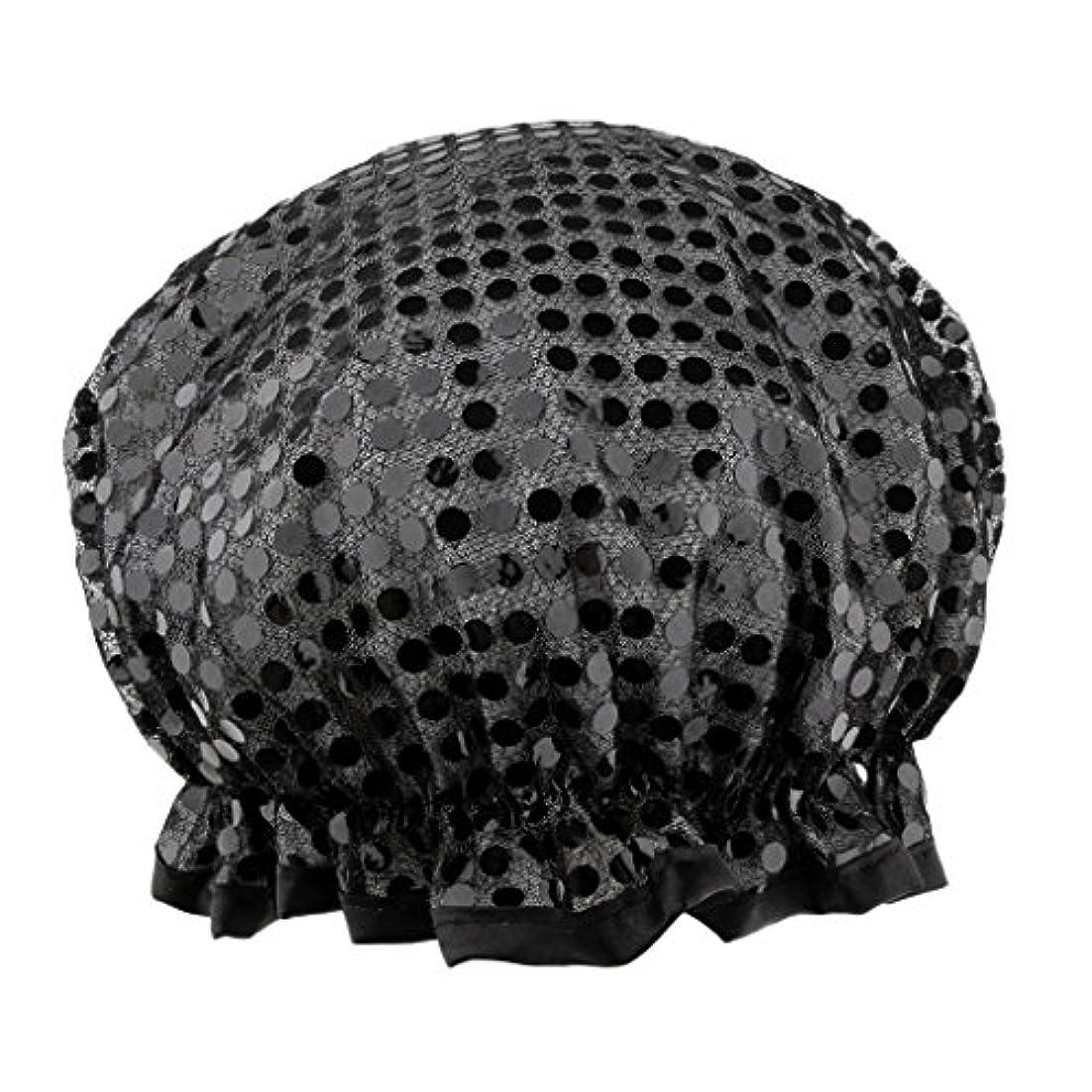 かりてキラウエア山アジテーションシャワーキャップ バスキャップ 入浴帽子 温泉 SPA シャワー 料理 ヘアマスク 女性用 耐久性 3色選べる - ブラック