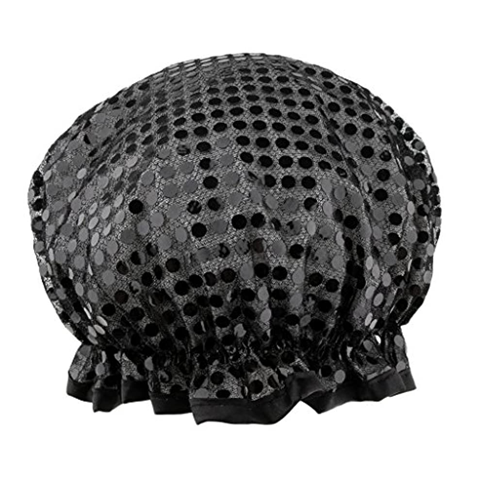 ウィザード子供っぽい落ち着かないシャワーキャップ バスキャップ 入浴帽子 温泉 SPA シャワー 料理 ヘアマスク 女性用 耐久性 3色選べる - ブラック
