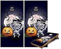 Cornhole Bag Toss Gameボードビニールラップスキンキット–Halloween Jack O lantern pumpkin bats and Zombie Mummy ( Fits 24x 48ゲームボード–Gameboards NOT INCLUDED )