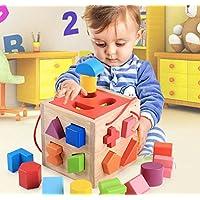 HuaQingPiJu-JP 木製の幾何学的なソートボックス子供のための教育形状色認識玩具