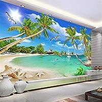 Wuyyii カスタム3Dウォールペーパー愛ハイチ地中海ココナッツ壁紙ソファリビングルームテレビ背景壁装飾-350X250Cm