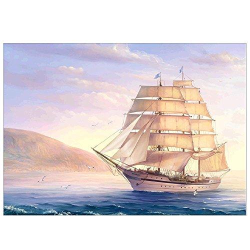 Demiawaking 5D 船 海へ行く ダイヤモンド絵画セット 刺繍キット 樹脂ラインストーン 貼れる 玄関・入り口 インテリア装飾 DIY 工芸品