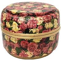 花柄 収納 ボックス 円柱 太鼓型 竹 デザインB