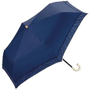 w.p.c 日傘 晴雨兼用 折りたたみ 遮光 リブドット ピコレース ネイビー 50cm 801-628
