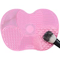PIKANCHI メイクブラシクリーナー シリコン 洗濯板 化粧ブラシクリーナー 可愛い メイクブラシクリーニング 軽量 化粧ブラシ洗う 洗浄ブラシ(ピンク)