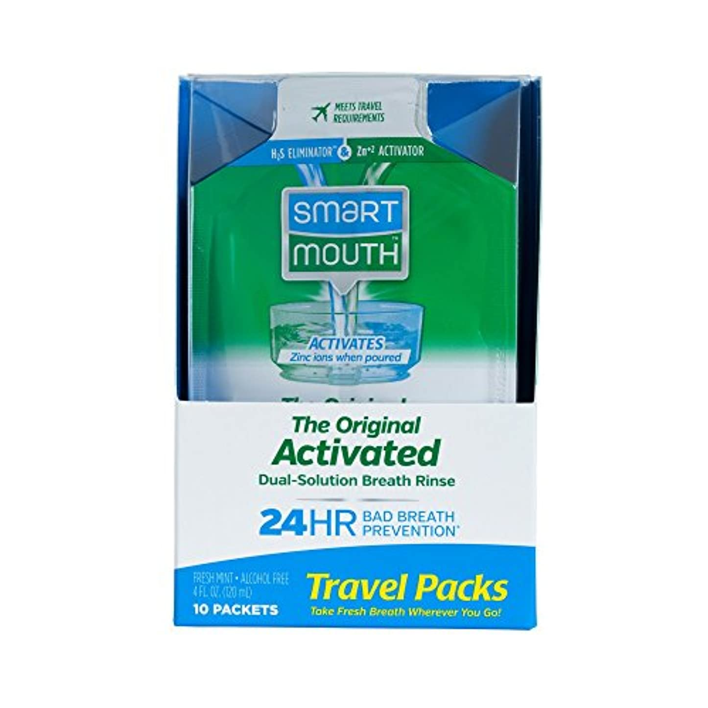 れる配管工ガードSmartMouth Mouthwash Packets, Clean Mint, 10 Count by SmartMouth