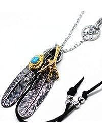 「silverKYASYA」ステンレス素材 特大フェザーネックレス ペンダント 羽根 金爪フェザー 金縄目 ターコイズフェザー 2枚 メンズネックレス