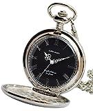 【リトルマジック】SB シンプル 懐中時計 メンズ レディース 【正規品】 チェーン 蓋付き 時計 ローマ数字 ナースウォッチ (シルバー 黒文字盤)