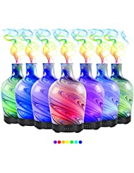100ml エッセンシャルオイルディフューザー、7色の夜の光の香り加湿器4タイマーの設定、水なしの自動シャットオフ、ファンタジーテクスチャガラスミストランプ