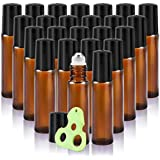 Olilia 10 ml Amber Glass Roll on Bottles with Metal Roller Balls, 24 Pack, Essential Oils Key