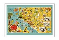 フランスのビューティーコースト - 南西海岸線 - 絵図 によって作成された ルシアン・ブーシェ c.1940 - アートポスター - 76cm x 112cm