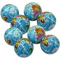dazzling toys 絞れるストレスボール 12個パック - 緊張緩和 アクティビティボール 12個セット - プレッシャー緩和健康ボール - 健康回復に効果的なリラックススクイーズボール 12個パック 地球柄ボール