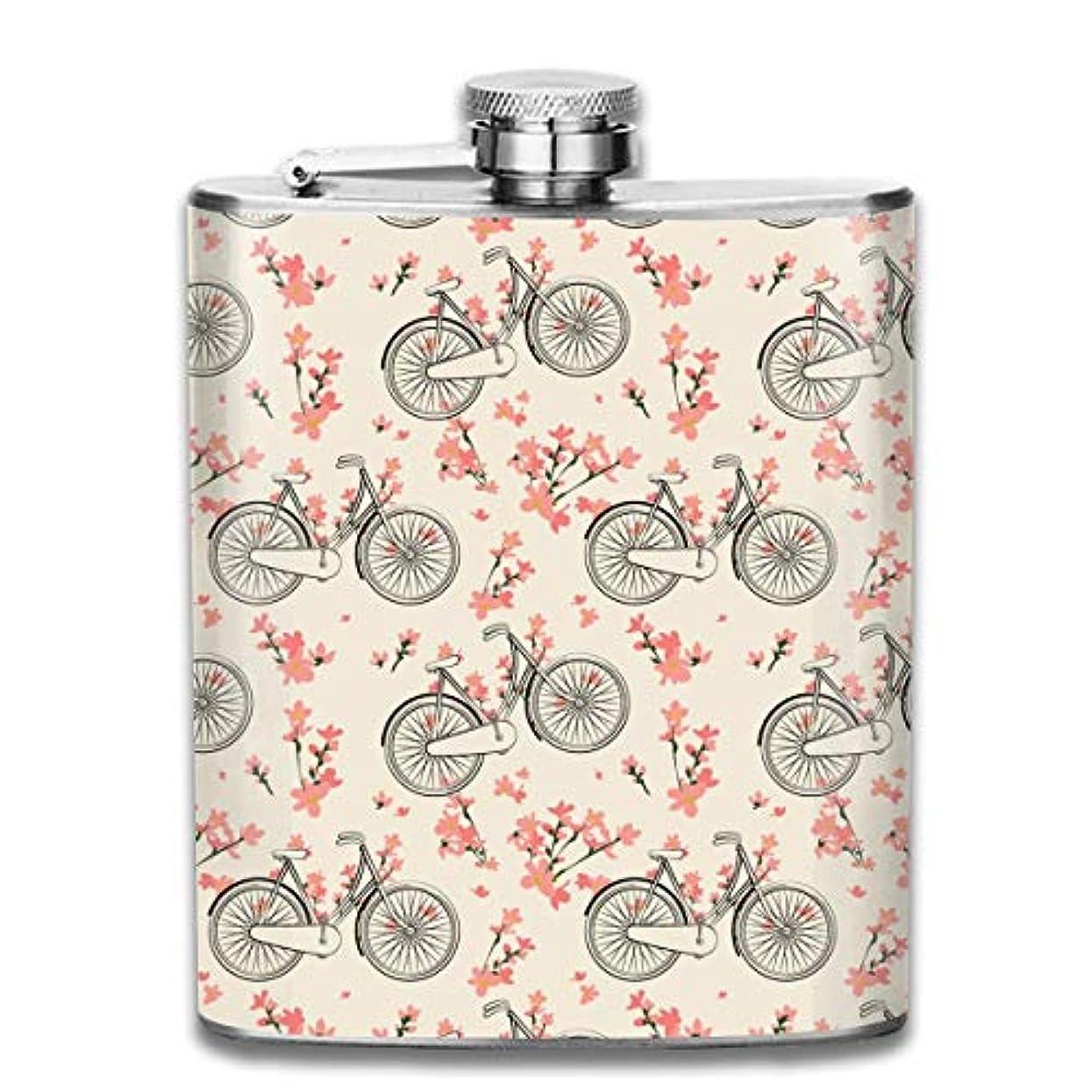 正統派ロボット可愛い自転車と花 フラスコ スキットル ヒップフラスコ 7オンス 206ml 高品質ステンレス製 ウイスキー アルコール 清酒 携帯 ボトル