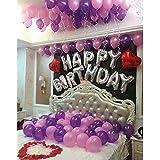 HAPPY BIRTHDAY バースデー パーティー インテリア バルーンセット 誕生日 飾り付け おしゃれ 風船 テープ リボン ポンプ 花びら付属 (パープル)