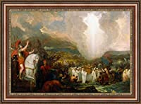(v11–01–02) Benjamin West Joshua Passing The_川_ Jordan with the Ark of the Covenant_フレーム_キャンバス_ Giclee_プリント_ w22_ X h15 +[Large] #06-Brown/Gold V11-02F-MD393-03