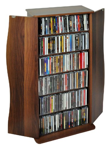 ドアー付きCD/DVD/文庫本/コミック本キャビネット本棚CD最大198枚収納可88cm高ダークブラウン