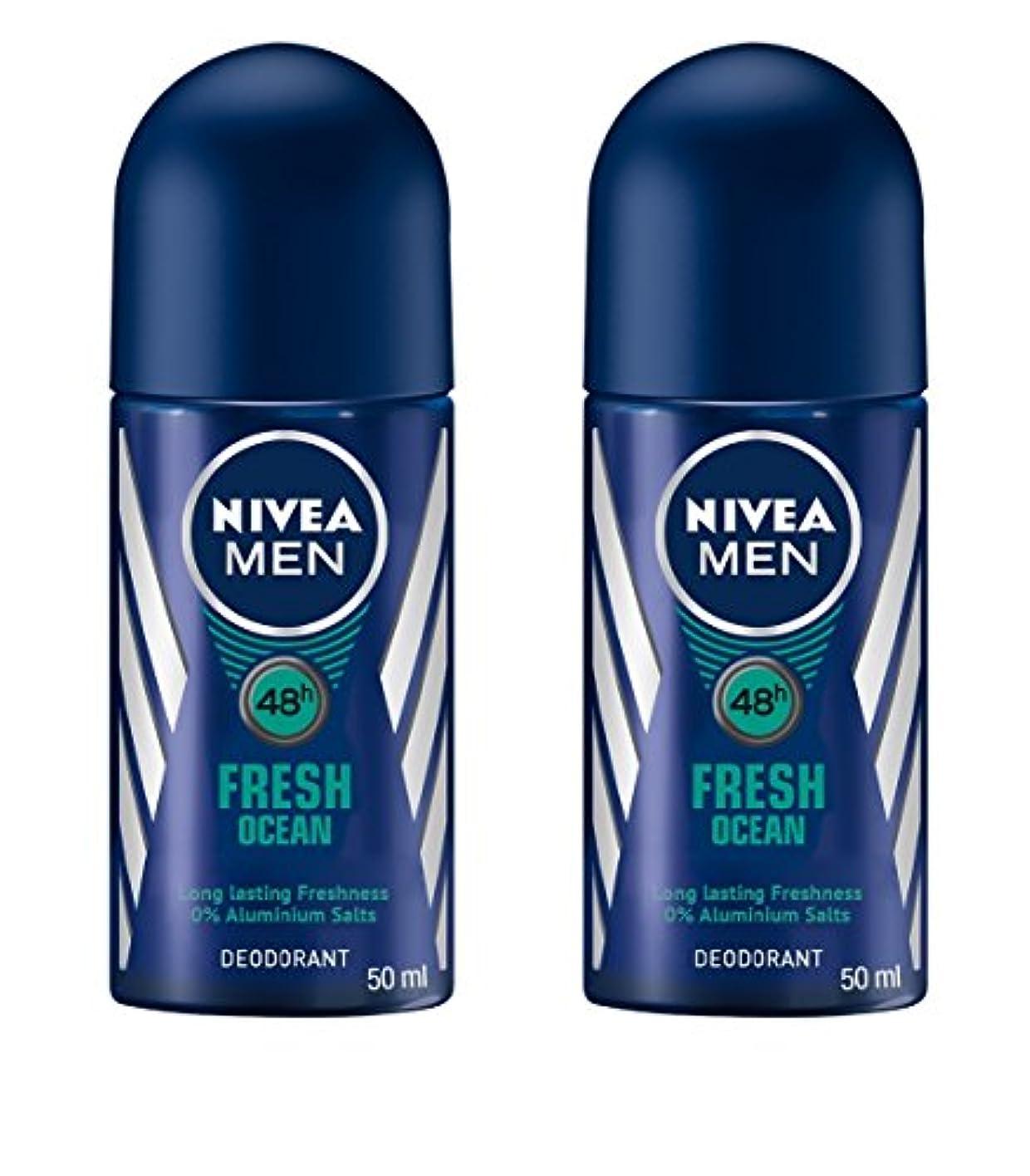 厚さ彼贈り物(Pack of 2) Nivea Fresh Ocean Deodorant Roll On for Men 2x50ml - (2パック) ニベア新鮮な海洋デオドラントロールオン男性用2x50ml
