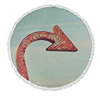KAVKA DESIGNS Over There Round Beach Towel, (Red/Blue) - HEARTLAND Collection, Size: 60x60x.5 - (BOBAVC061FSBTR60) [並行輸入品]