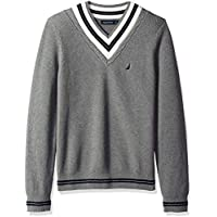 Nautica Men's Long Sleeve Cable Tipped V-Neck Sweater