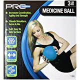 """Pro Strength (1 3lb Medicine Ball Blue with Soft, Easy to Textured Grip Surface - Increases Coordination, Agility & Strength Exercise, Health & Fitness Approx 4.25"""" diam."""