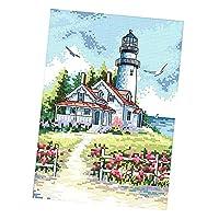 FLAMEER クロスステッチキット 印刷パターン 14CT 海辺の灯台 刺繍 ギフト 家の装飾
